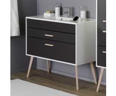 Waschtischunterschrank in Weiß Anthrazit 100 cm breit
