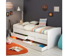 Kinderzimmer Bett mit Schubladen Weiß