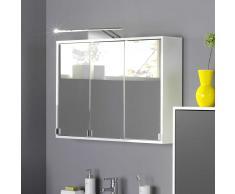 3D Spiegelschrank in Weiß LED Aufbauleuchte