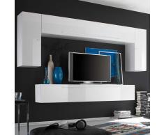 Hängende Wohnkombination in Weiß Hochglanz 200 cm hoch (4-teilig)