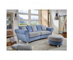 Big Sofa mit Hocker Blau Beige (2-teilig)