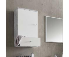 Badezimmer Hängeschrank in Weiß Grau Beton Optik