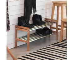 Garderoben Schuhregal aus Eiche Massivholz Edelstahl