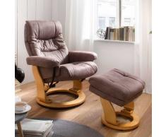 Relaxsessel in Taupe Stoff Hocker (2-teilig)