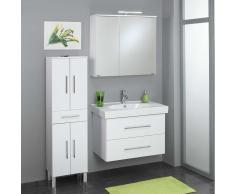 Badmöbel Set in Weiß Waschtisch und Spiegelschrank (3-teilig)