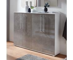 Garderoben Schuhschrank in Beton Grau und Weiß 160 cm breit