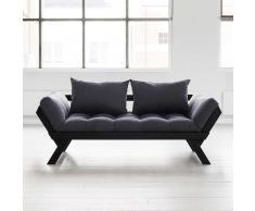 Futon Sofa  mit verstellbaren Armlehnen  Grau Schwarz (4-teilig)