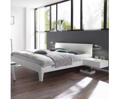 Komfortbett in Weiß Buche massiv mit Leseleuchten (3-teilig)