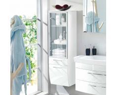 Badezimmer Hochschrank mit Glastür Weiß Hochglanz