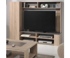 Wohnzimmer TV Wand in Sonoma Eiche Grau Stein Optik
