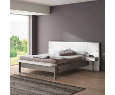 Bett mit Polsterkopfteil in Weiß Grau Metall