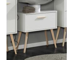 Waschbeckenunterschrank in Weiß Buche Retro Design