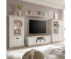 Wohnzimmer Anbauwand im Landhaus Design Weiß Kiefer (4-teilig)