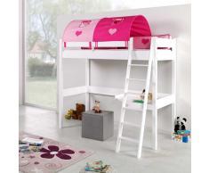 Hohes Spielbett in Weiß Buche massiv Pink Rosa