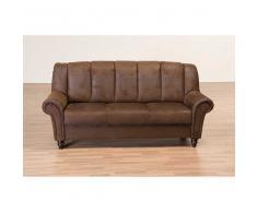 3 Sitzer Sofa in Braun Wildlederoptik