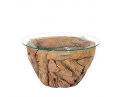 Wohnzimmertisch aus Teak Recyclingholz runde Glasplatte