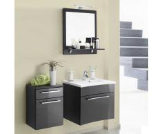 Badezimmer Kombination mit Wandspiegel und Waschtisch Hochglanz Anthrazit (3-teilig)