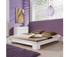 Bett aus Buche Massivholz Weiß lackiert