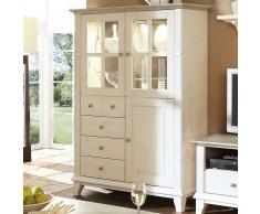 Wohnzimmer-Vitrine in Weiß-Grau