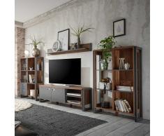 Wohnzimmer Anbauwand in Eiche dunkel Schiefer Grau Loft Design (4-teilig)