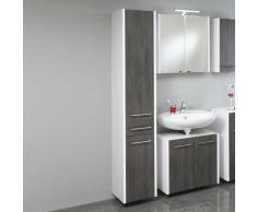 Badezimmer Hochschrank in Weiß Grau Hängend