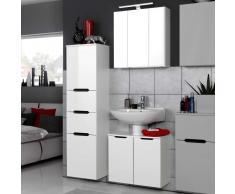 Badezimmermöbel Set in Weiß 3D Spiegelschrank (3-teilig)
