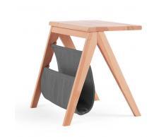 Nachttisch aus Kernbuche Massivholz Grau Webstoff
