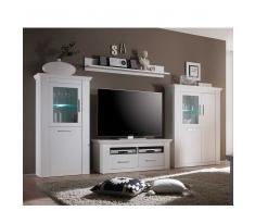 TV Anbauwand in Weiß skandinavischer Landhausstil (4-teilig)