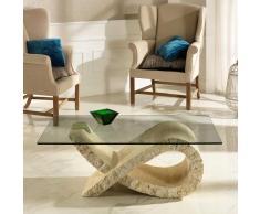 Wohnzimmer Couchtisch mit Steinfuß modern