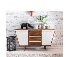 Sideboard aus Sheesham Massivholz und Weiß Trapezform