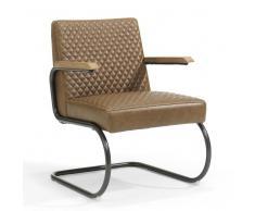 Freischwinger Sessel im Retro Look dunklem Beige