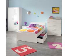 Jugendzimmer Einrichtung in Weiß Schubladenbett (4-teilig)
