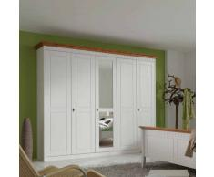 Schlafzimmerschrank in Weiß Bernsteinfarben Pinie massiv