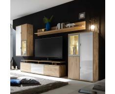 Wohnzimmer Anbauwand aus Wildeiche Massivholz Weiß Glas (4-teilig)