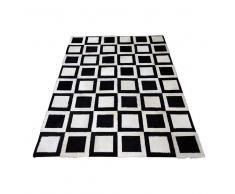 Teppich mit Kuhfell Schwarz Weiß