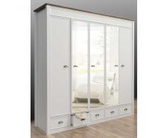 Landhaus Kleiderschrank mit Spiegeltüren Weiß