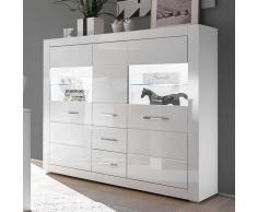 Wohnzimmer Highboard in Hochglanz Weiß und Glas 150 cm breit