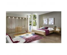 Schlafzimmerset in Beige mit Eiche Massivholz (4-teilig)