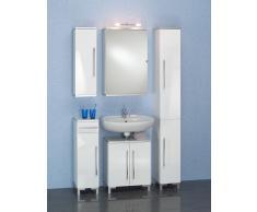 Bad-Kombination mit Spiegelschrank Weiß (5-teilig)
