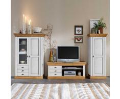 Wohnwand in Weiß Kiefer massiv Landhaus Design (3-teilig)