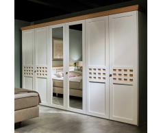 Schlafzimmerschrank in Weiß mit Eiche furniert Spiegel