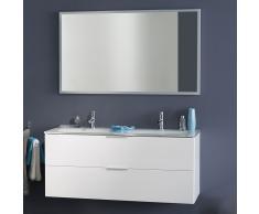 Badezimmer Kombination mit Doppelwaschbecken Weiß Hochglanz (2-teilig)