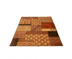 Teppich in Braun Rot Patchwork Design