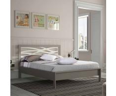 Bett in Grau Metall mit Eichenholz