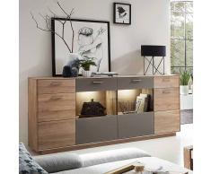 Sideboard aus Wildeiche Massivholz Grau Glas