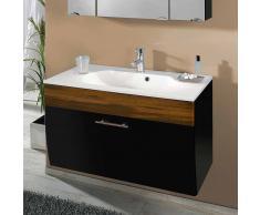 Badezimmer Waschbeckenschrank in Anthrazit Walnuss Hochglanz modern
