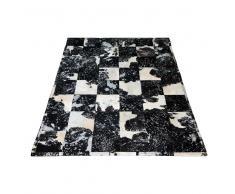 Teppich in Schwarz Weiß Kuhfell