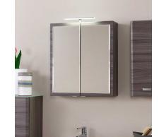 Badezimmer Spiegelschrank mit LED-Aufbauleuchte Eiche dunkel