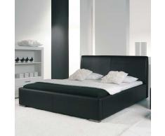 Kunstleder Bett in Schwarz