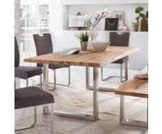 Esszimmertisch mit Bügelgestell aus Edelstahl Baumkante